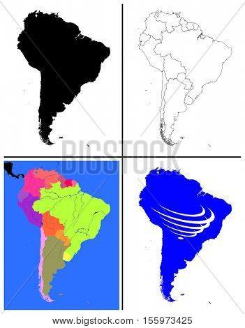 Vector South America Maps Collection silhouette political line art topographic also with south america countries union flag UNASUR draw for full continent borders islands oceans main rivers lakes