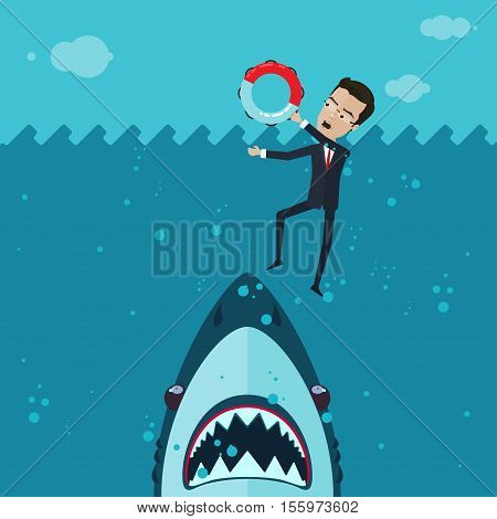 A businessman or manager fighting for his life in the ocean in his hand a lifeline a huge shark underwater Vector illustration in flat cartoon style isolated from the background EPS 10