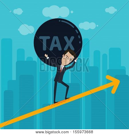 Businessman or manager carries on his shoulders a heavy ball with the inscription tax Vector illustration in flat cartoon style isolated from the background EPS 10