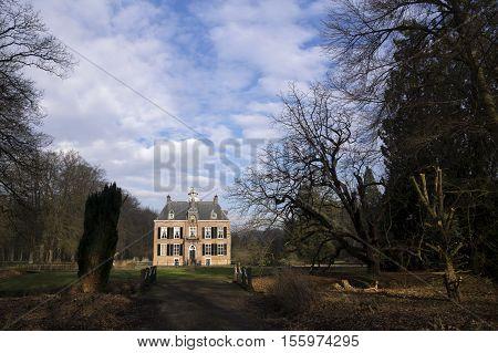 Castle den Bramel near Vorden in the Dutch region Achterhoek seen from the surrounding park