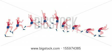 Sequential vector icons of athlete doing jump isolated on white background