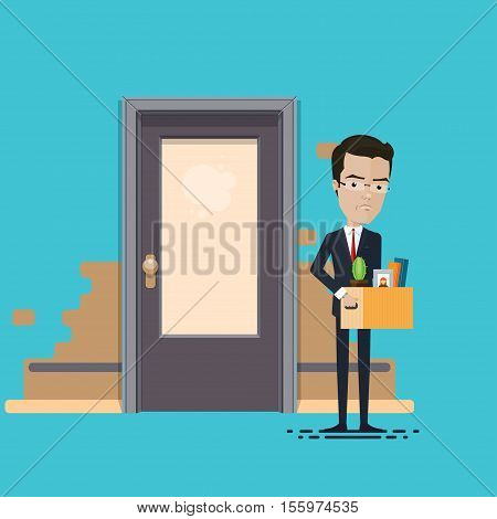 Businessman or manager fired lowering holding box with personal belongings Vector illustration in flat cartoon style isolated from the background EPS 10