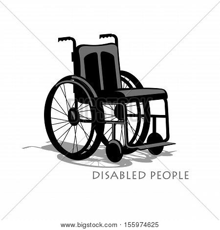 Wheelchair silhouette with shadow and text on a white background. Stock competition of people with disabilities to move. The stylized image. Vector illustration.