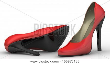 Women's high heeled shoes. Red women's shoes with high heels on a white surface. 3D Illustration. Isolated