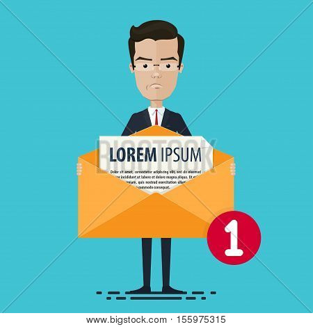 A businessman or manager holds the envelope Vector illustration in flat cartoon style isolated from the background EPS 10