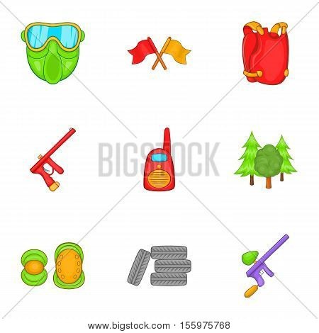 Shooting paintball icons set. Cartoon illustration of 9 shooting paintball vector icons for web