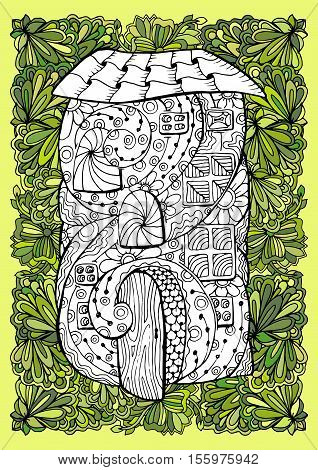 Adult coloring book half colored cover design and mono color black ink illustration, vector art. Fairy house with open door and floral garden. Vector illustration