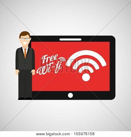 man tablet free wifi icon design vector illustration eps 10