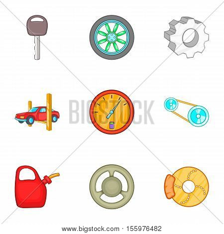 Garage icons set. Cartoon illustration of 9 garage vector icons for web