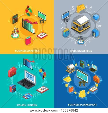 Business management analytics online trading systems with financial banking symbols signs 4 icons square isolated vector illustration