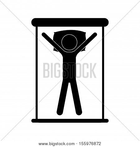 positions in bed sleepling over white background. silhouette of man in bed. vector illustration