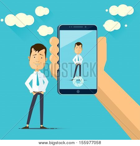 Taking photo on mobile phone. Hand holding mobile smartphone Vector illustration in flat style isolated from the background