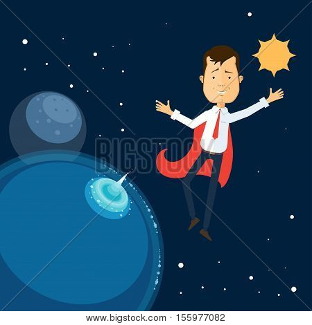 businessman in a red cloak flew into space Vector illustration in flat style isolated from the background