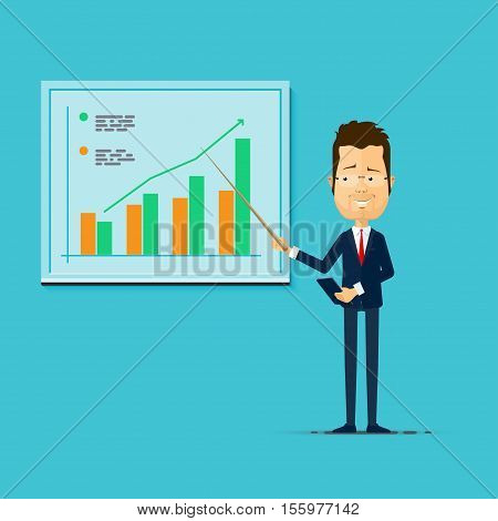 Assured business teacher giving lecture training seminar or presentation. Businessman business coach standing in front of Blank Projection screen