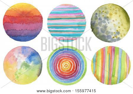 Abstract acrylic and watercolor circle painted background. Texture paper. Isolated. Collection.