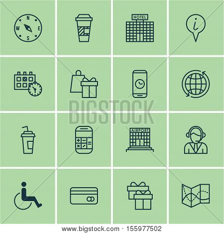 Set Of Travel Icons On Info Pointer, Road Map And Call Duration Topics. Editable Vector Illustration