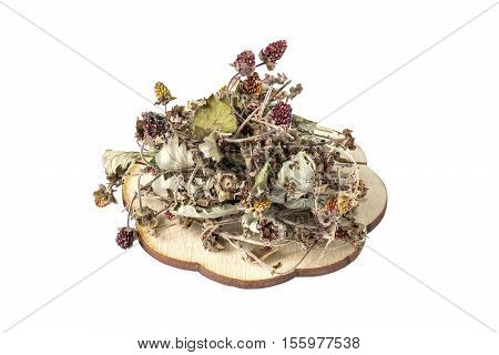 Bundle of dried woodland strawberry (fragaria vesca) isolated on white background. It is used for the preparation of useful herbal tea and medicinal infusions in the herbal medicine
