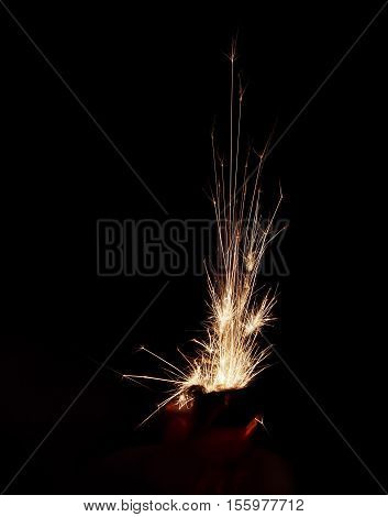 Night close up of lighter and sparks