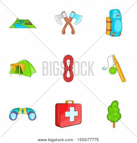 Camping icons set. Cartoon illustration of 9 camping vector icons for web