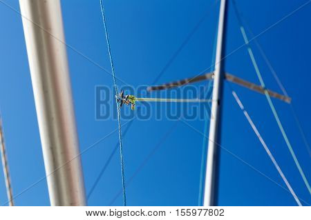 The spinnaker pole is rigged to run from the base of the mast to windward over the side of the boat.