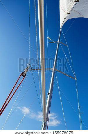 The spinnaker pole is rigged to run from the base of the mast to windward over the side of the boat. For a spinnaker, the line attached to the pole is the guy, or brace, and the corner is the tack