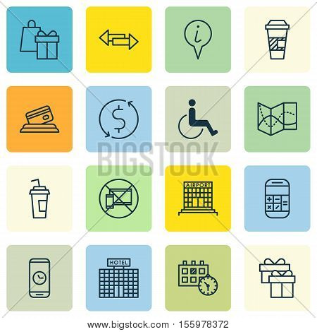 Set Of Airport Icons On Calculation, Forbidden Mobile And Road Map Topics. Editable Vector Illustrat