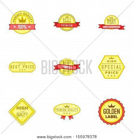Best quality label icons set. Cartoon illustration of 9 best quality label vector icons for web