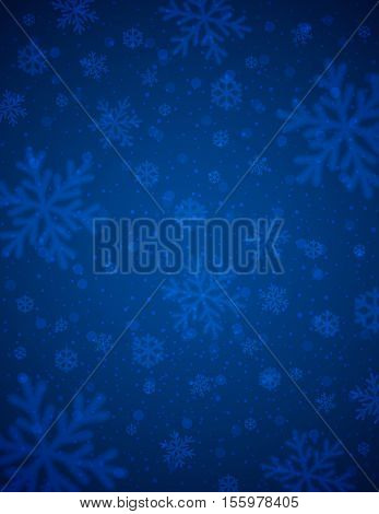 Blue background with white blurred snowflakes vector illustration