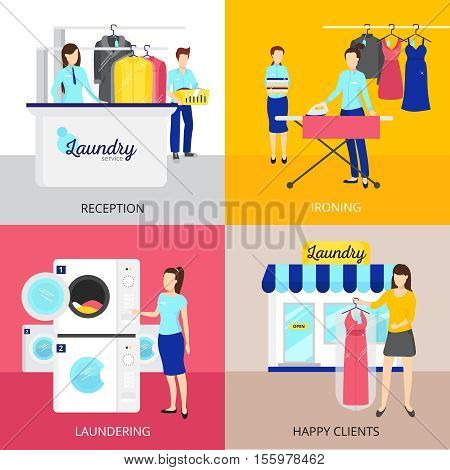Laundry concept icons set with iron and reception symbols flat isolated vector illustration
