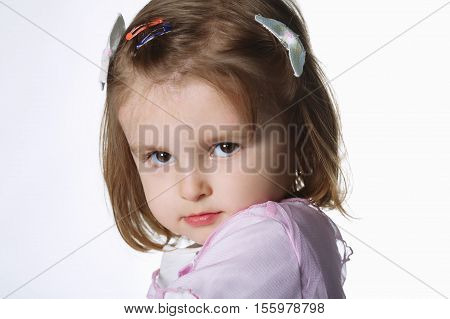 beautiful little girl portrait on white background