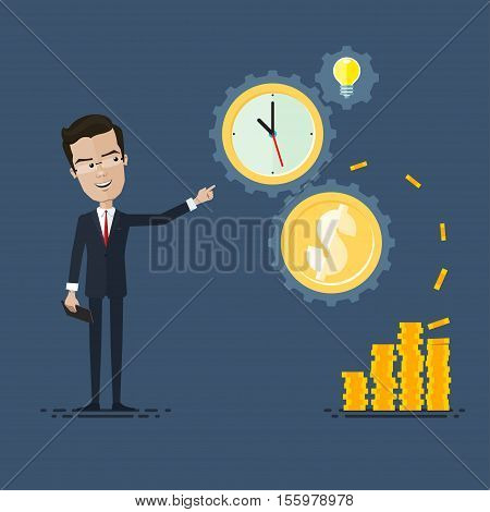 businessman or manager mechanism of work from idea to result Gears time is money concept Vector illustration in flat cartoon style isolated from the background EPS 10
