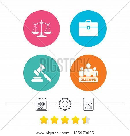 Scales of Justice icon. Group of clients symbol. Auction hammer sign. Law judge gavel. Court of law. Calendar, cogwheel and report linear icons. Star vote ranking. Vector