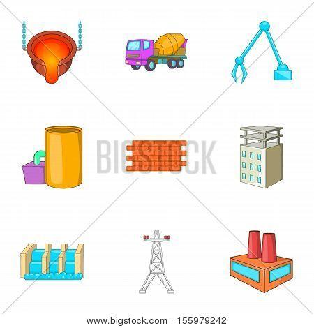 Metallurgical plant icons set. Cartoon illustration of 9 metallurgical plant vector icons for web