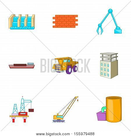 Manufacture icons set. Cartoon illustration of 9 manufacture vector icons for web