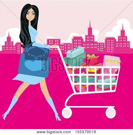 Happy woman pushing shopping card , vector illustration