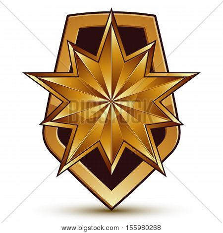 Sophisticated 3d vector blazon with polygonal glamorous  golden star