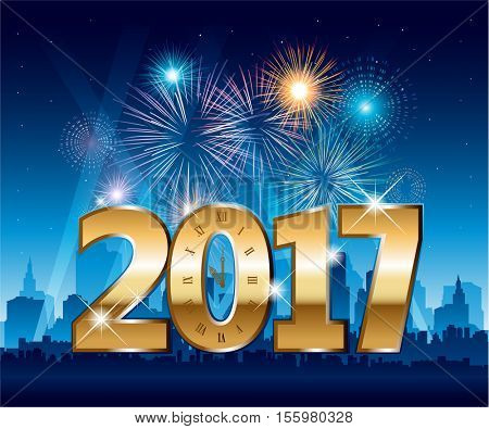 Golden 2017 numbers happy new year party city with fireworks