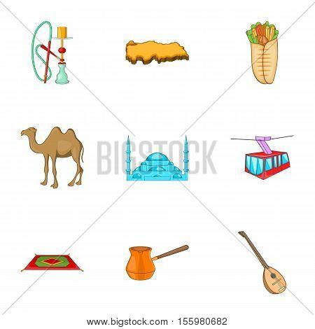 Tourism in Turkey icons set. Cartoon illustration of 9 tourism in Turkey vector icons for web