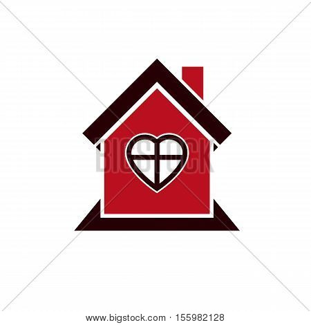 Family house abstract icon harmony at home concept. Simple building real estate business architecture theme vector symbol.