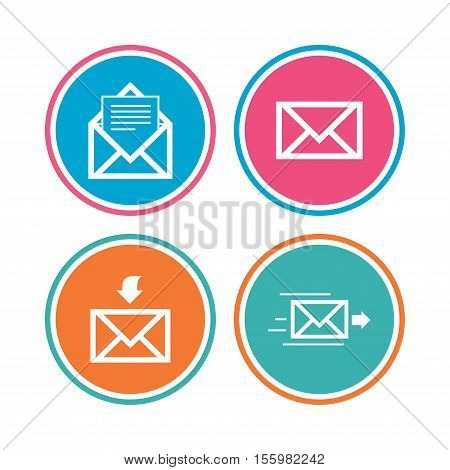 Mail envelope icons. Message document delivery symbol. Post office letter signs. Inbox and outbox message icons. Colored circle buttons. Vector
