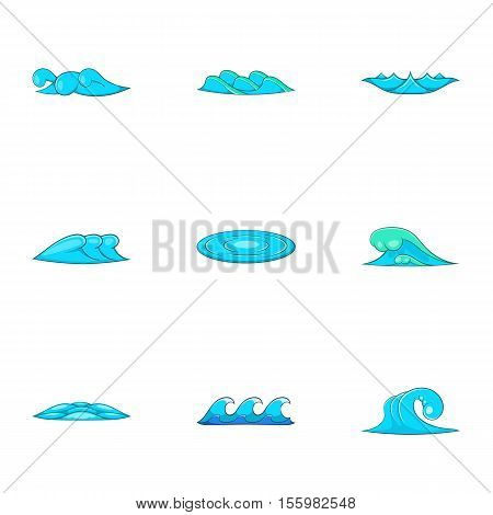 Tsunami icons set. Cartoon illustration of 9 tsunami vector icons for web