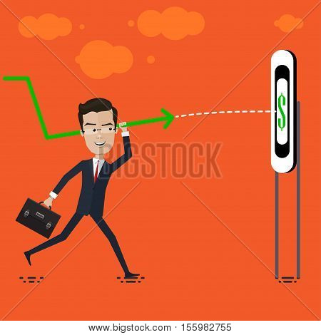 businessman or manager throws the spear right on target Vector illustration in flat cartoon style isolated from the background EPS 10