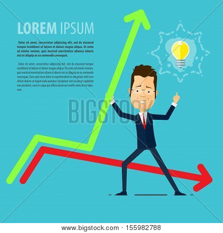 Businessman or manager came up with the idea incomes rise Vector illustration in flat style isolated from the background EPS 10