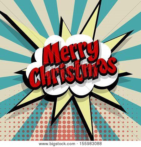 Merry Christmas. Speech comic bubble text blue color background. Pop art style vector illustration. Retro burst expression speech pop art bubble cloud explosion. Boom communication graphic talk humor