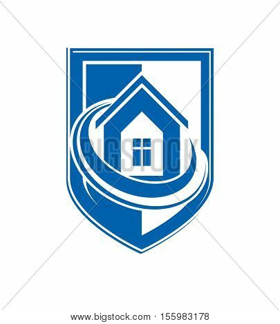 Home insurance conceptual icon made using protection shield with vector simple house.