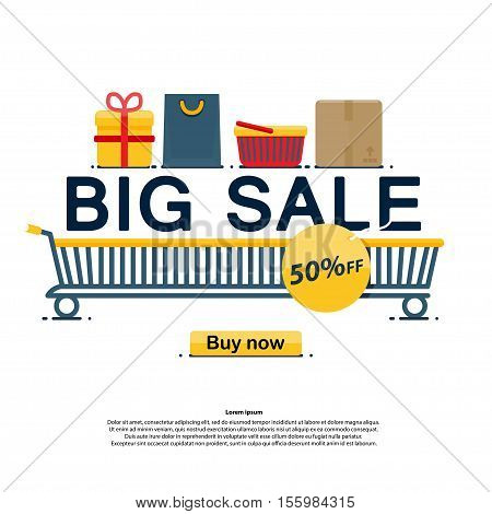 Big sale icons buy now discount Vector illustration in flat cartoon style isolated from the background EPS 10