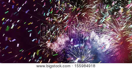 stars and lights pattern of bright colorful fireworks with colorful stars and circle and ticker tapes shapes added