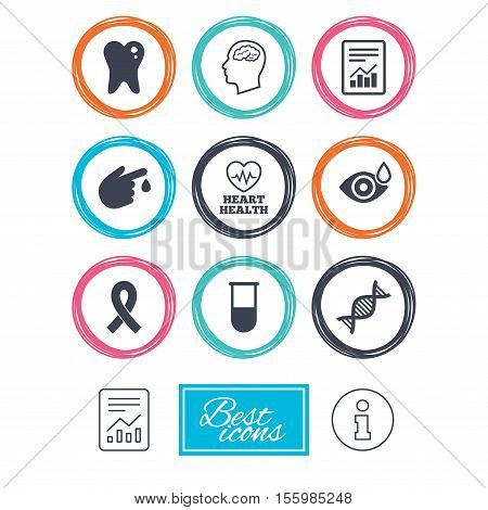 Medicine, medical health and diagnosis icons. Blood test, dna and neurology signs. Tooth, report symbols. Report document, information icons. Vector