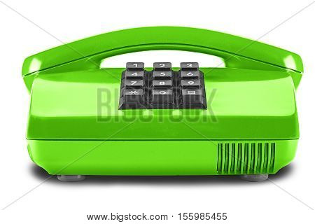 old green desk phone on isolated white background
