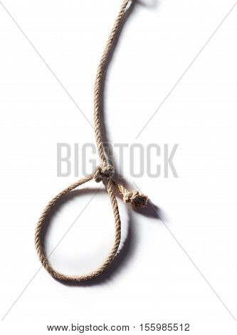 Hangman's noose isolated on a white background a symbol of death. Hemp Rope Knot.